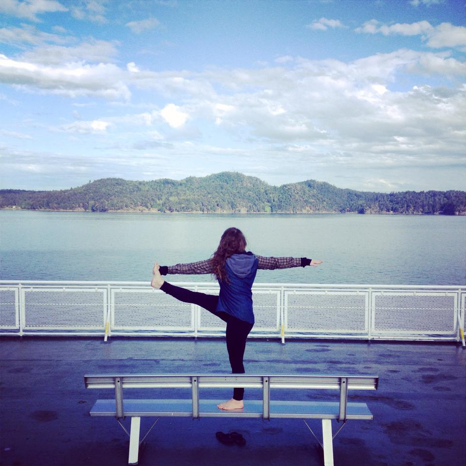 Ferry yoga on the way from Victoria, BC to Vancouver, BC