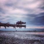 Arm balancing at China Beach, Vancouver Island (Astavakrasana)