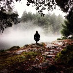 Toe stand in the fog at Thetis Lake, Victoria BC