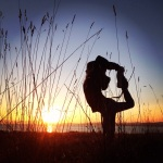 Natarajasana with a sunset. yoga dancers pose