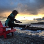 Yoga elephant trunk pose in McNeil Bay, Victoria BC