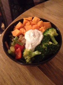 Cashew cream with yams, broccoli and veggies. Vegan and gluten free.