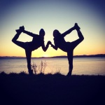 Yoga dancer pose in the sunset in victoria bc