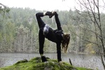 Chopasana yoga pose at Killarney Lake, Victoria BC