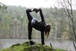 Chopasana yoga pose at Killarney Lake, Victoria BC