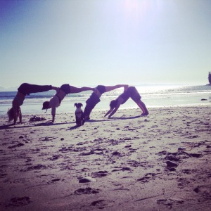 Yoga is better with friends! China Beach, Vancouver Island.