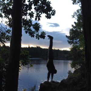 Branstand handstanding at Thetis Lake, Victoria BC