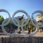 Yoga in the Olympic Rings: Rachel is the Dancer, Dana and I the Headstands :)