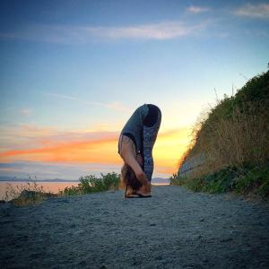 domestikatie yoga. forward fold in the sunset at dallas road victoria bc