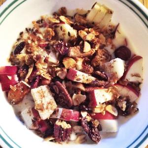 Grain-free Maple Granola with a sliced MacIntosh Apple and almond milk and sprinkled with cinnamon.