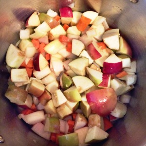 Apple, carrot, onion, coconut oil cooking for fall harvest soup